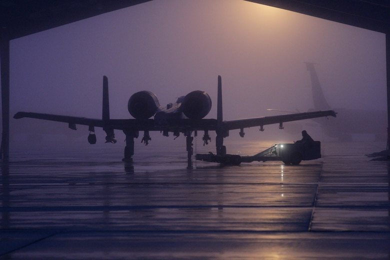 140111-Z-NJ721-014  An A-10 Thunderbolt II from the 127th Fighter Squadron is parked beneath a shelter on a foggy morning at Selfridge Air National Guard Base, Mich., on Jan. 11, 2014.  (U.S. Air National Guard photo by TSgt. Robert Hanet/Released)
