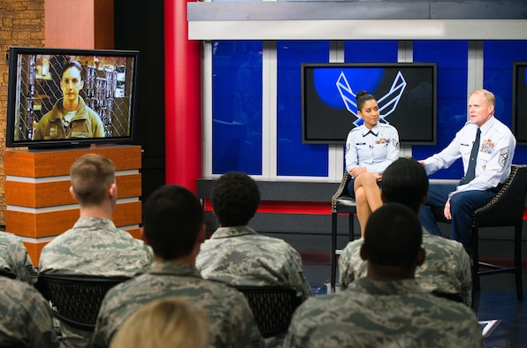 Chief Master Sgt. of the Air Force James A. Cody answers a question from an Airman, via a video message, during his 2nd worldwide CHIEFchat Jan. 9, 2014, at Defense Media Activity, Fort Meade, Md.  During this session of CHIEFchat, Cody addressed upcoming changes to enlisted performance reports and effects of force management. (U.S. Air Force photo/Senior Airman Jette Carr)