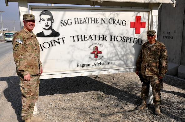 Chaplain (Capt.) Gary Willeford and Chaplain Assistant Tech. Sgt. Brian Ramirez pose for a photograph in front of Craig Joint Theater Hospital, Bagram Airfield, Afghanistan. Willeford and Ramirez are one of two religious support teams providing religious support and counsel to patients and caregivers at Craig Joint Theater Hospital. (Courtesy photo)