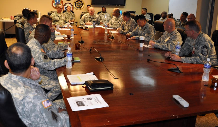 U.S. Army Col. Thomas Boccardi, Commander, Joint Task Force-Bravo, presents a command briefing to U.S. Air Force Brig. Gen. Peter E. Gersten, Deputy Director for Politico-Military Affairs (Western Hemisphere), Strategic Plans and Policy Directorate, Joint Staff, the Pentagon, Washington, D.C., at Soto Cano Air Base, Honduras, Jan. 13, 2014. Gersten met with Joint Task Force-Bravo leadership and received and in-depth look at the Task Force mission. (U.S. Air Force photo by Capt. Zach Anderson)