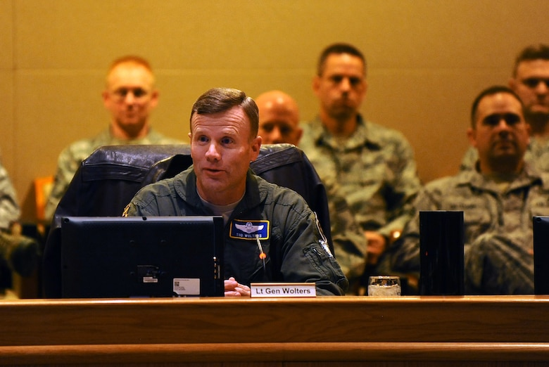 U.S. Air Force Lt. Gen. Tod D. Wolters, 12th Air Force (AFSOUTH) commander, meets with wing leadership at the Dougherty Conference Center shortly after arriving at Offutt Air Force Base, Neb. on Jan. 8. Wolters spent the next 24 hours on a tour of the 55th Wing meeting with the Airmen of the Fightin' Fifty-Fifth. (U.S. Air Force photo by Josh Plueger/Released)