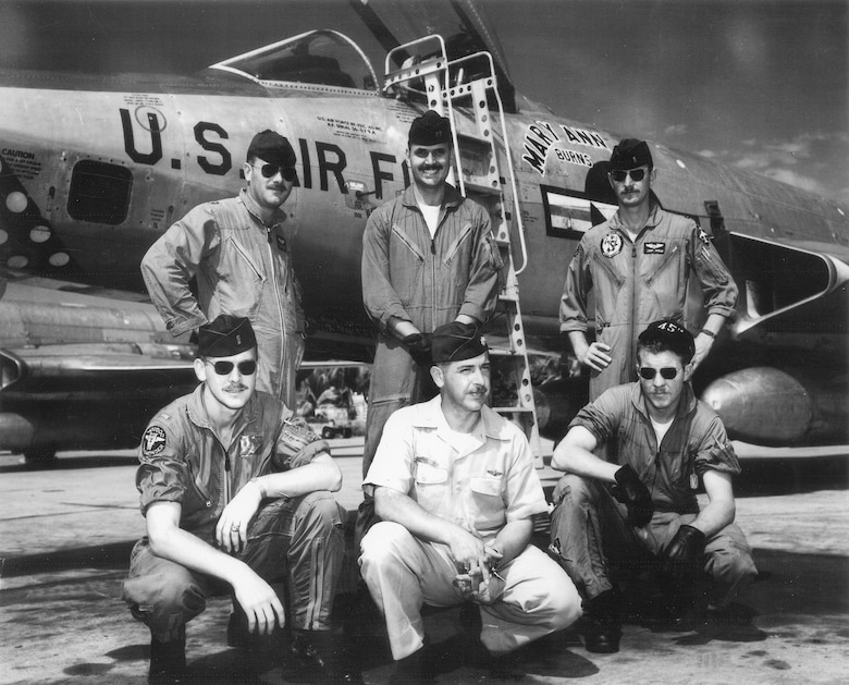 The first ABLE MABLE pilots in front of an RF-101C: Front row (left to right) 1st Lt. Fred Muesegaes, Maj. Ken Harbst and 1st Lt. Jack Weatherby; Back row (left to right) Capt. Ralph DeLucia, Capt. Bill Whitten and 1st Lt. John Linihan. Muesegaes, Weatherby, Linihan and Whitten also flew RT-33A PROJECT FIELD GOAL missions. (U.S. Air Force photo)