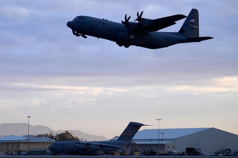The final C-130J Super Hercules departs Kandahar Airfield, Afghanistan, Jan. 12, 2013. The C-130J Super Hercules will take over for the C-130 Hercules at Bagram Airfield, after four months at Kandahar. (U.S. Air Force photo by Senior Airman Kayla Newman/Released)