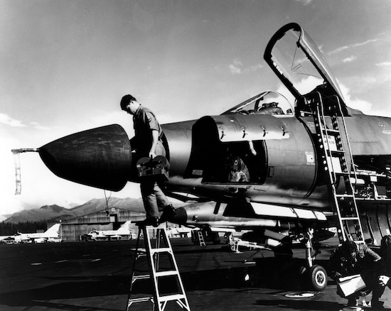 Kentucky Guardsman of the 123rd Tactical Reconnaissance Wing working on the cameras of an RF-101H at Elmendorf AFB, Alaska. Activated in January 1968, the 123rd TRW conducted operations in Alaska, Panama, Japan and South Korea. (U.S. Air Force Photo)