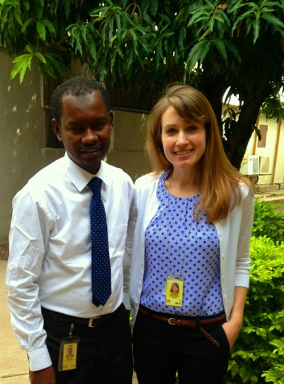 Dr. Kristin Gilroy, IWR, Embassy Science Fellow, travels to Chad to conduct a comprehensive assessment of current research efforts and opportunities for U.S. engagement toward finding science-based solutions to the disappearance of Lake Chad. Left to right: Moustapha Malloumi, Kristin Gilroy.