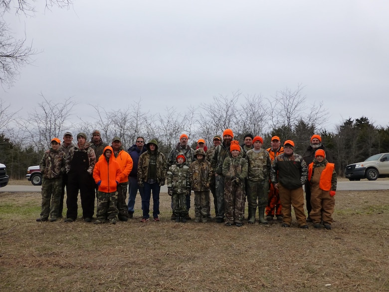 Group Photo of the young hunters and their escorts at the 2014 Ozark Isle Youth Deer Hunt.