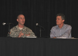 "Jacksonville District commander Col. Alan Dodd spoke on the ""Where is all the Water Coming From? A Coastal Perspective on Solutions for Water Management in the Northern Everglades and Lake Okeechobee"" panel   Jan. 11, 2014, where he provided an overview of the water management decisions the Corps has made this past wet season and the importance of considering public safety in the decision-making process. Eric Draper (right), from the Audubon of Florida, moderated the panel discussion."