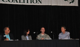 "U.S. Army Corps of Engineers Jacksonville District Commander Col. Alan Dodd spoke on the ""Where is all the Water Coming From? A Coastal Perspective on Solutions for Water Management in the Northern Everglades and Lake Okeechobee"" panel   Jan. 11, 2014, at the Everglades Coalition Conference in Naples, Fla.  Also serving on the panel were (from left) Mark Perry of the Florida Oceanographic Society, Florida Sen. Lizbeth Benacquisto, (not pictured) South Florida Water Management District Governing Board Member Mitch Hutchcraft and Drew Bartlett of the Florida Department of Environmental Protection. Eric Draper (right) from Audubon of Florida moderated the panel."