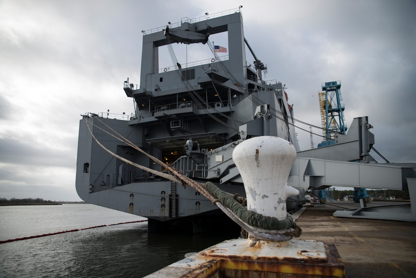 The USNS Pomeroy (T-AKR-316) is docked at Wharf Alpha, Jan. 10, 2014, at the Joint Base Charleston – Weapons Station, S.C.  The Pomeroy is one of 19 large, medium roll-on and roll-off ships belonging to the Navy's Military Sealift Command and is capable of carrying an entire United States Army Armor Task Force; the ship's decks have space for securing helicopters, tanks, trucks and other large vehicles, including 900-plus associated battalion support vehicles. (U.S. Air Force photo/Senior Airman Ashlee Galloway)