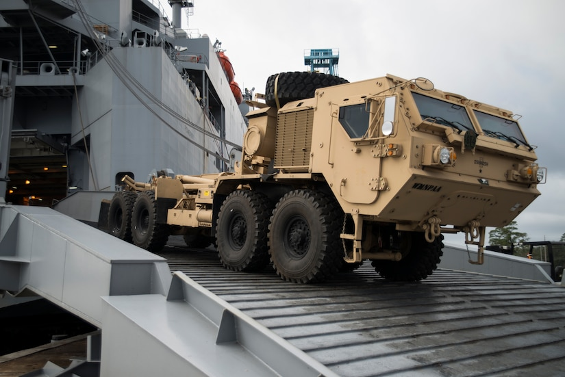 A Mine-Resistant Ambush Protected vehicle is offloaded from the USNS Pomeroy (T-AKR-316), Jan. 10, 2014, at the Joint Base Charleston – Weapons Station, S.C.  The Pomeroy holds roughly 1,400 pieces of cargo as part of the nation's prepositioning force. The 841st Transportation Battalion will off-load and discharge all the ship's cargo in 10 days to two weeks and the Army Strategic Logistics Activity Charleston will repair and reset the equipment before it is re-deployed. (U.S. Air Force photo/Senior Airman Ashlee Galloway)