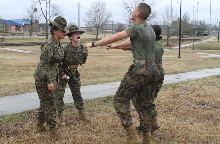 Female Poolees Receive Instruction From Parris Island