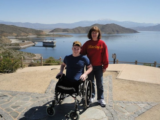 Cpl. Mark Fidler and his mother, Stacy Fidler, visit Diamond Valley Lake, Calif. in April 2012. Stacy tells her son's story to remind others of the impact blood donors and their donations have on people like her son.