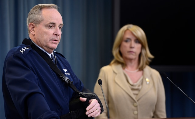 Air Force Chief of Staff Gen. Mark A. Welsh III and Secretary of the Air Force Deborah Lee James speak about an investigation involving missile launch officers during a press briefing Jan. 15, 2014, in the Pentagon, Washington D.C.  Though the investigation revealed a lack of integrity among a group of Airmen, James and Welsh stressed that it did not shake their confidence in the nuclear force and it remains their number one priority.  (U.S. Air Force photo/Scott M. Ash)