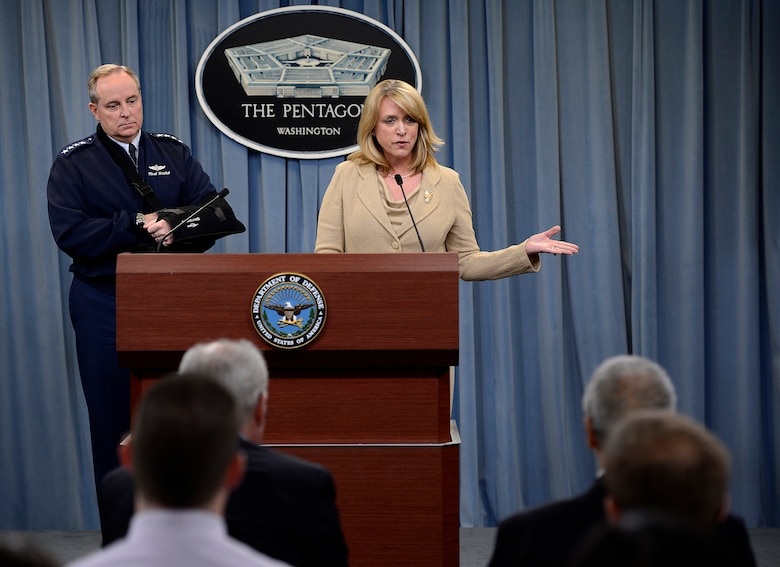 Secretary of the Air Force Deborah Lee James and Air Force Chief of Staff Gen. Mark A. Welsh III speak about an investigation involving missile launch officers during a press briefing Jan. 15, 2014, in the Pentagon, Washington D.C.  Though the investigation revealed a lack of integrity among a group of Airmen, James and Welsh stressed that it did not shake their confidence in the nuclear force and it remains their number one priority.  (U.S. Air Force photo/Scott M. Ash)