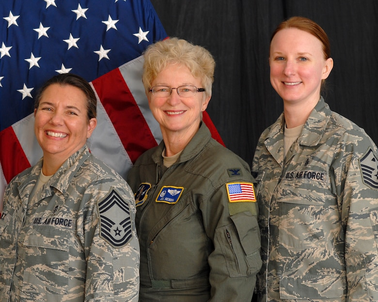 "U.S. Air Force Chief Master Sgt. Susan Dietz, first female Chief Enlisted Manager for the145th Medical Group, Col. Jill Hendra, first female commander 145th MDG, and Master Sgt. Maria Gupton, first female ""1st Shirt"" 145th MDG, pose for portrait at the North Carolina Air National Guard base, Charlotte-Douglas Intl. airport, Jan. 8, 2014.  The North Carolina Air National Guard makes history with top three medical positions being led by women. (Air National Guard photo by Master Sgt. Patricia F. Moran/Released)"