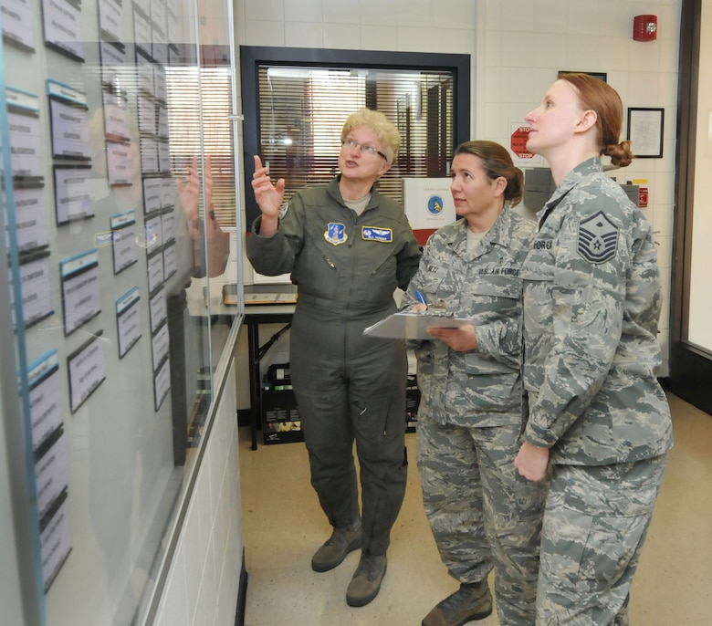 "U.S. Air Force Master Sgt. Maria Gupton, first female 1st Shirt for the 145th Medical Group, Chief Master Sgt. Susan Dietz, first female Chief Enlisted Manager, 145th MDG and Col. Jill Hendra, first female commander 145th MDG, coordinate manning of personnel and plan training schedule prior to upcoming ""Superdrill"" Unit Training Assembly at the North Carolina Air National Guard base, Charlotte-Douglas Intl. airport, Jan. 8, 2014.  January UTA will be Hendra's final drill as commander of the 145th MDG. (Air National Guard photo by Master Sgt. Patricia F. Moran/Released)"
