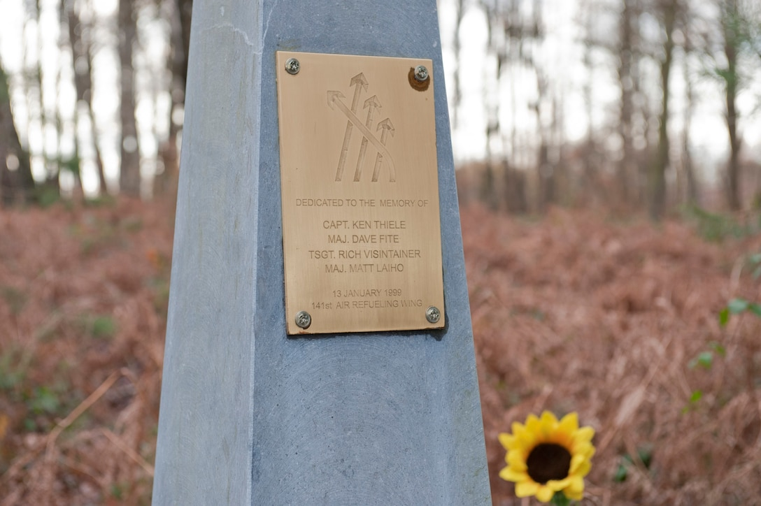 """A memorial flagstone sits at the site of a 141st Air Refueling Wing, Fairchild Air Force Base KC-135E Stratotanker crash near Geilenkirchen Air Base, Germany, Jan. 9, 2014.  The memorial was erected for """"ESSO 77"""" crew members: Maj. David Fite, Maj. Mattew Laiho, Capt. Kenneth Thiele and Tech. Sgt. Richard Visintainer who perished in the crash Jan. 13, 1999.(NATO E-3A component Photo By  Mr. Andre Joosten/Released)"""