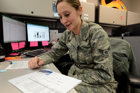 """Airman 1st Class Maelynn Staton, 375th Comptroller Squadron. """"I support the mission by managing the government travel card accounts of all Scott personnel."""" (U.S. Air Force photo/Senior Airman Jake Eckhardt)"""