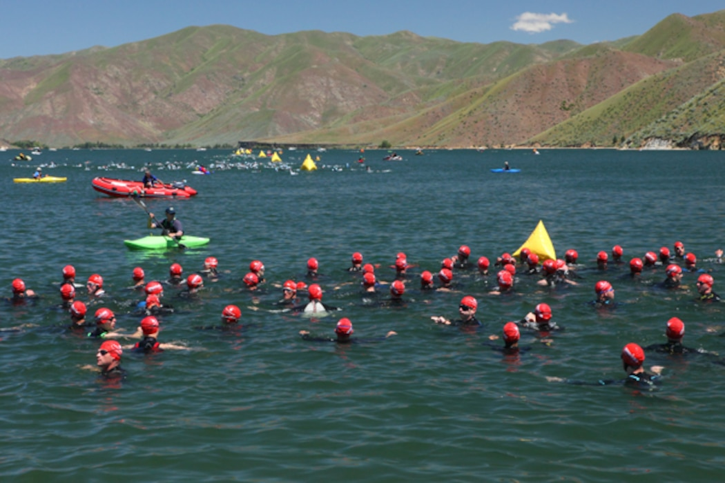 Triathlons are a popular event at Lucky Peak Lake occurring several times each year.
