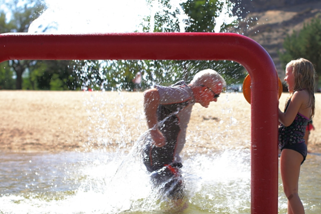 Water features at Lucky Peak State Park's Sandy Point Unit offer a great playtime escape during summer.