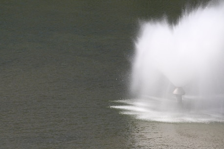 A hallmark of Lucky Peak Lake – the summertime fountain at Lucky Peak State Park's Sandy Point Unit.