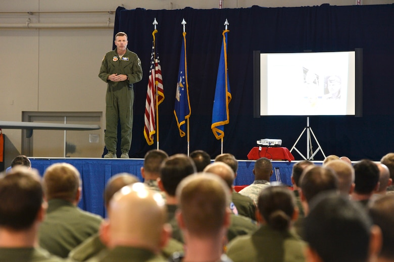 Lt. Gen. Tod D. Wolters, 12th Air Force (Air Forces Southern) commander, shares his views of today's Air Force environment with Airmen of the 432nd Wing/432nd Air Expeditionary Wing during his all-call while on a two-day visit Jan. 13-14. Wolters discussed issues affecting Airmen such as teamwork, sexual assault prevention and suicide awareness. (U.S. Air Force photo by Staff Sgt. N.B.)