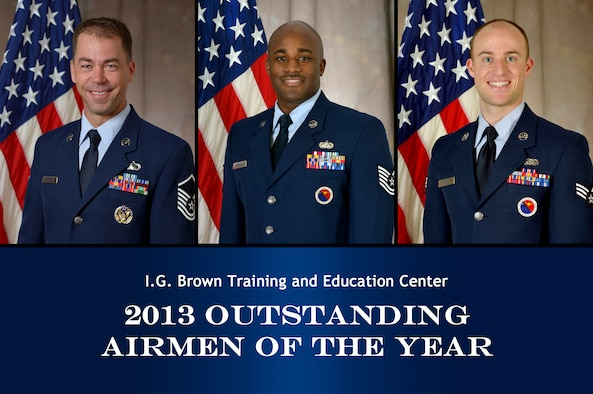 "MCGHEE TYSON AIR NATIONAL GUARD BASE, Tenn.  - From left, Master Sgt. Mike R. Smith, Tech. Sgt. Kasimu ""Moe"" Greenidge and Senior Airman Aaron L. Rush; the I.G. Brown Training and Education Center's 2013 Outstanding Airmen of the Year. (U.S. Air National Guard photo illustration by Master Sgt. Kurt Skoglund/Released)"