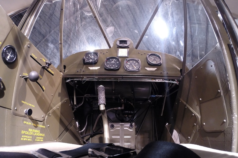 "DAYTON, Ohio -- The cockpit of a Taylorcraft L-2M ""Grasshopper"" in the World War II Gallery at the National Museum of the United States Air Force. (U.S. Air Force photo)"