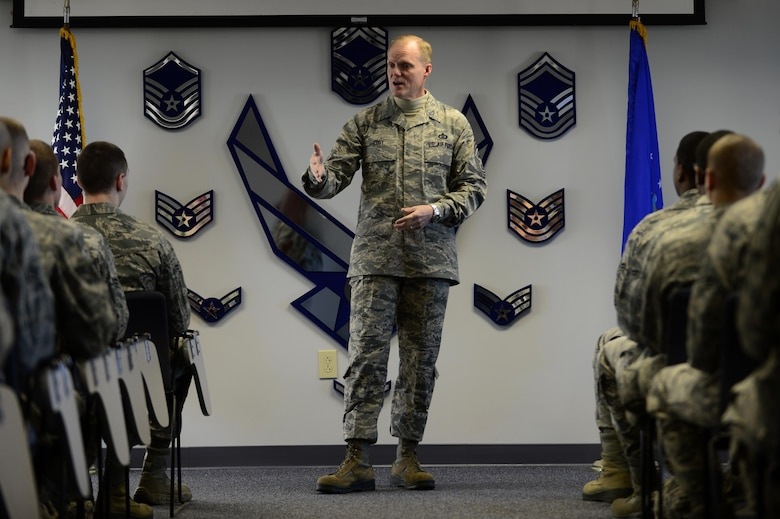 Chief Master Sgt. of the Air Force James A. Cody speaks to Airmen at the First Term Airman Center Jan. 7, 2014, during his visit to Langley Air Force Base, Va, Cody visited multiple wings and discussed force management issues, budget concerns and the future of the enlisted force with Airmen. (U.S. Air Force photo/Airman 1st Class Areca T. Wilson)