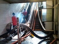 Hoses and other necessary equipment were lugged up and down escalators to aide in the unwatering mission.