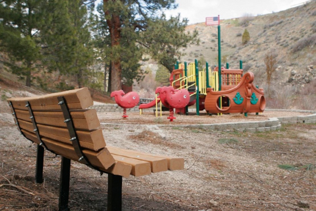 The playground at Robie Creek Park on Lucky Peak Lake.
