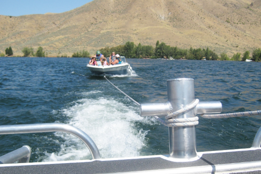Boaters on Lucky Peak Lake receive a tow back to the ramp.