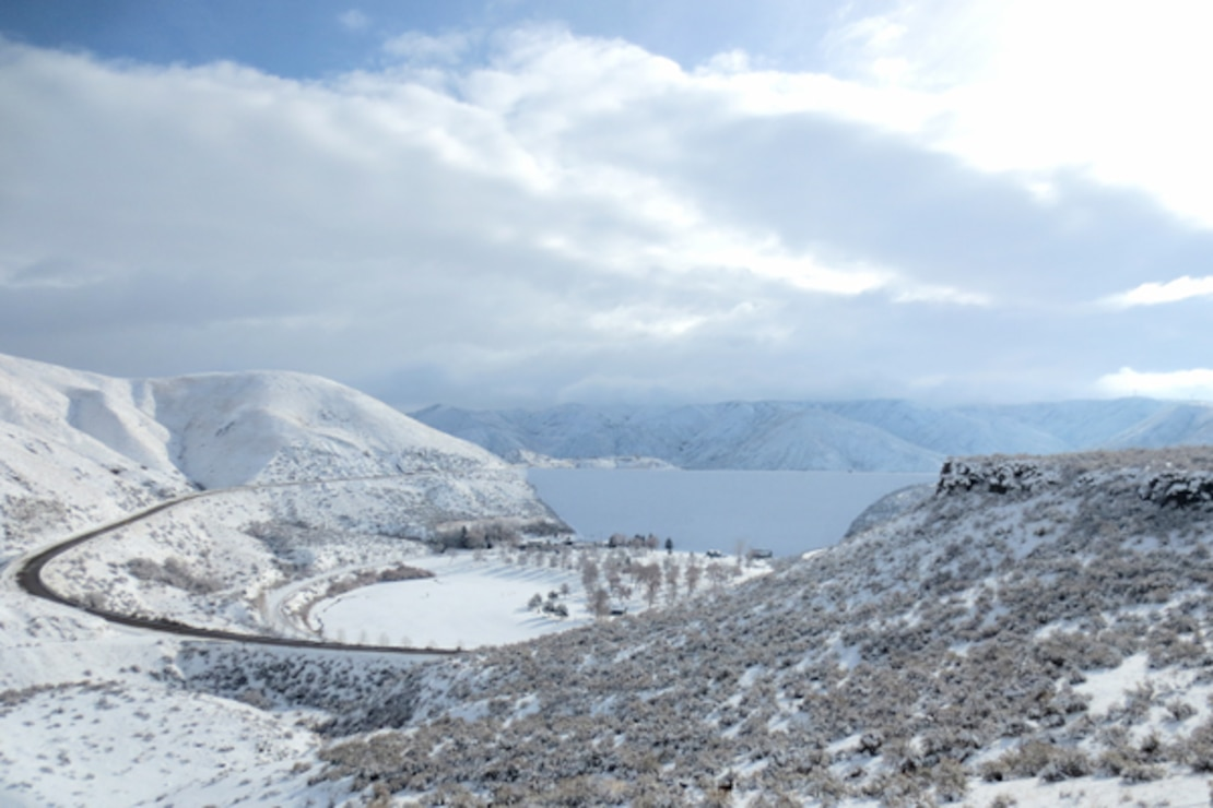 Winter dusts Lucky Peak Lake with snow.