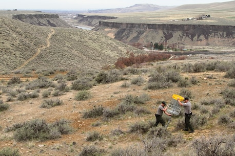 Rangers install the Lydle Gulch disc golf Gold Course at Lucky Peak Dam Recreation Area.  The Gold Course is removed each winter from January 1 to April 1 each year to lessen disturbances to mule deer and elk on their critical winter range.