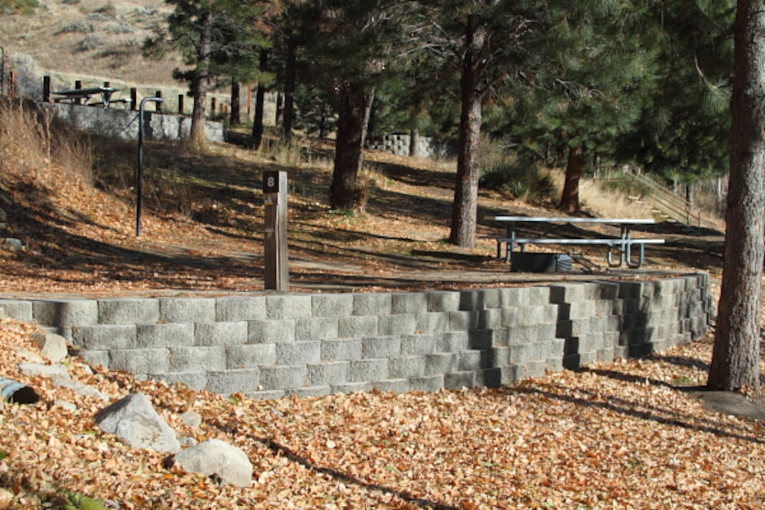 Macks Creek Park, Site 9, at Lucky Peak Lake.  Park staff constructed level tent sites using retaining walls, allowing the integration of Macks Creek Park into recreation.gov and becoming fully reservable in 2012.