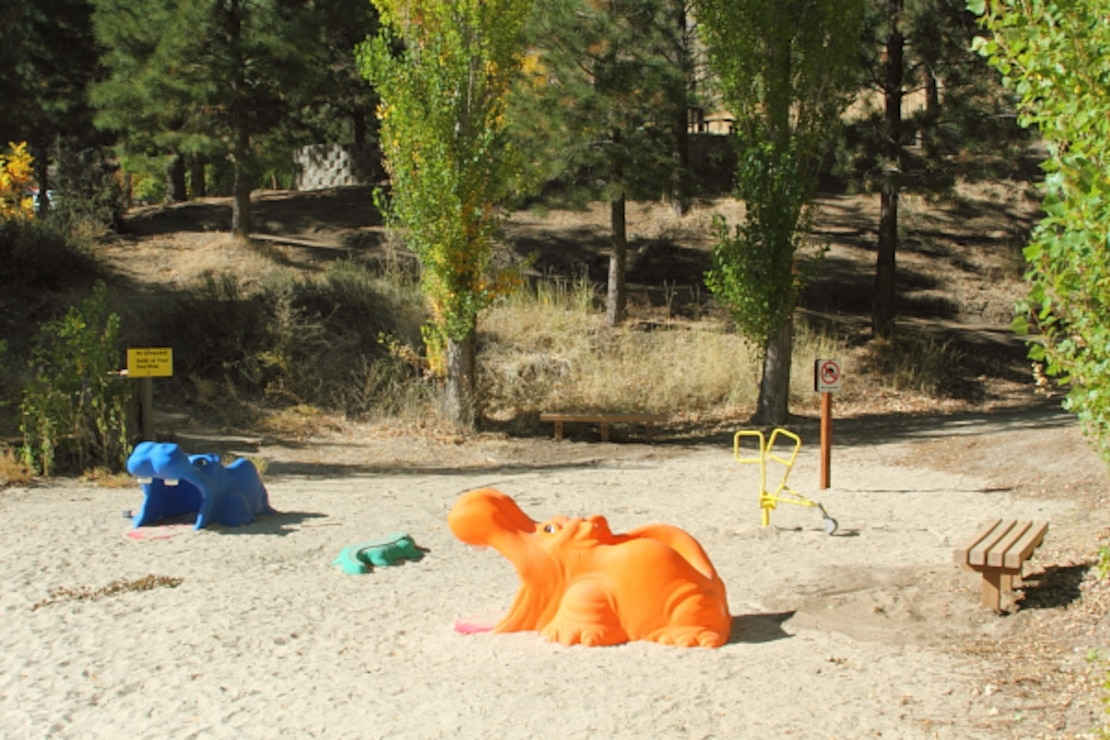 Play toys, benches, a sandy beach and lifejacket loaner station are to be found at Macks Creek Park, Lucky Peak Lake.