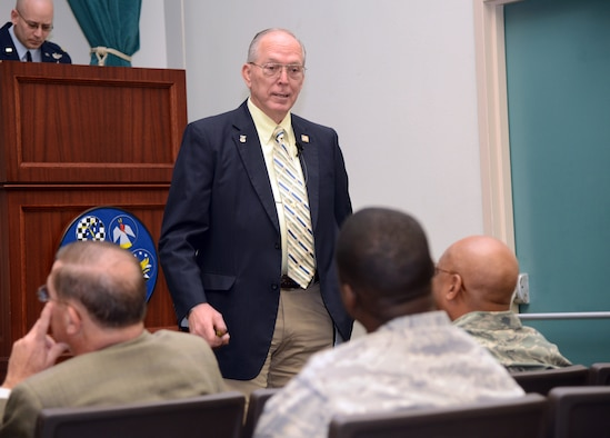 Retired Lt. Col. William Schwertfeger spoke to members of the 552nd Air Control Wing on Tuesday in Fannin Hall about his distinguished Air Force career and the time he spent as a prisoner of war during the Vietnam War. Colonel Schwertfeger was on an air strike mission on Feb. 16, 1972, when his F-4 received intense anti-aircraft fire and he was forced to eject over North Vietnam. He was then taken as a POW and was released during Operation Homecoming on March 28, 1973, after spending 407 days in captivity. (Air Force photo by Kelly White)