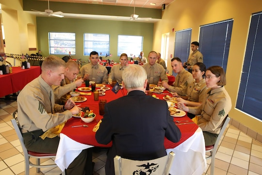Secretary of the Navy, Ray Mabus speaks to a group of Marines during lunch aboard Camp Pendleton, Calif., Jan. 10. Mabus met with a group of non-commissioned officers and discussed questions and concerns they had regarding the Marine Corps.