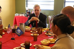 Secretary of the Navy Ray Mabus, listens to a Marine's question during lunch aboard Camp Pendleton, Calif., Jan 10. Mabus met with a group of non-commissioned officers to allow them to ask question and concerns regarding the Marine Corps.