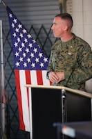 Lt. Col. Brian Russell, the commanding officer of 1st Air Naval Gunfire Liaison Company, speaks to Marines and families at a town hall meeting aboard Camp Pendleton, Calif., Jan 15. The meeting allowed families to ask questions and get a better sense of ANGLICO's structure and purpose.