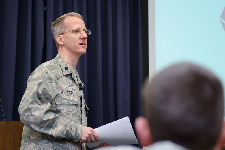 U.S. Air Force Lt. Col. Jim St. Clair, Public Affairs Officer assigned to Joint Force Headquarters, South Carolina Air National Guard, discusses resiliency topics during the winter wingman briefing to Airmen of the 169th Fighter Wing at McEntire Joint National Guard Base, S.C., Jan. 11, 2014.   (U.S. Air National Guard photo by Tech. Sgt. Jorge Intriago/Released)