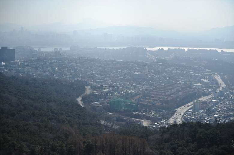 Namsan Mountain provides travelers panoramic views of Seoul, as photographed here Jan. 18, 2014, in Seoul, Republic of Korea. Namsan is one several mountains accessible from Seoul. (U.S. Air Force photo by Staff Sgt. Jake Barreiro)