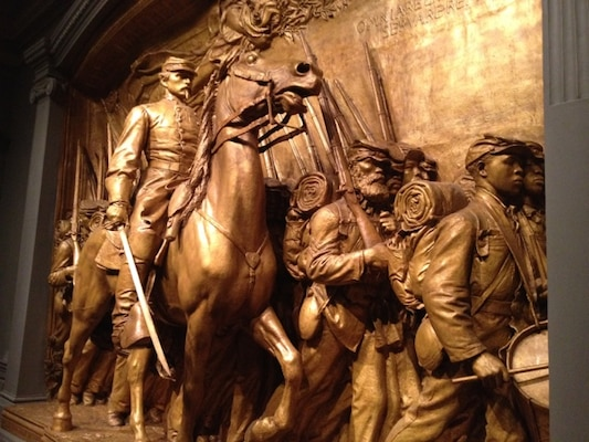 The exhibition at the National Gallery of Art celebrates the renowned Augustus Saint-Gaudens' Shaw Memorial, which depicts soldiers marching toward Fort Wagner near Charleston, S.C., July 18, 1863, led by Col. Robert Gould Shaw.
