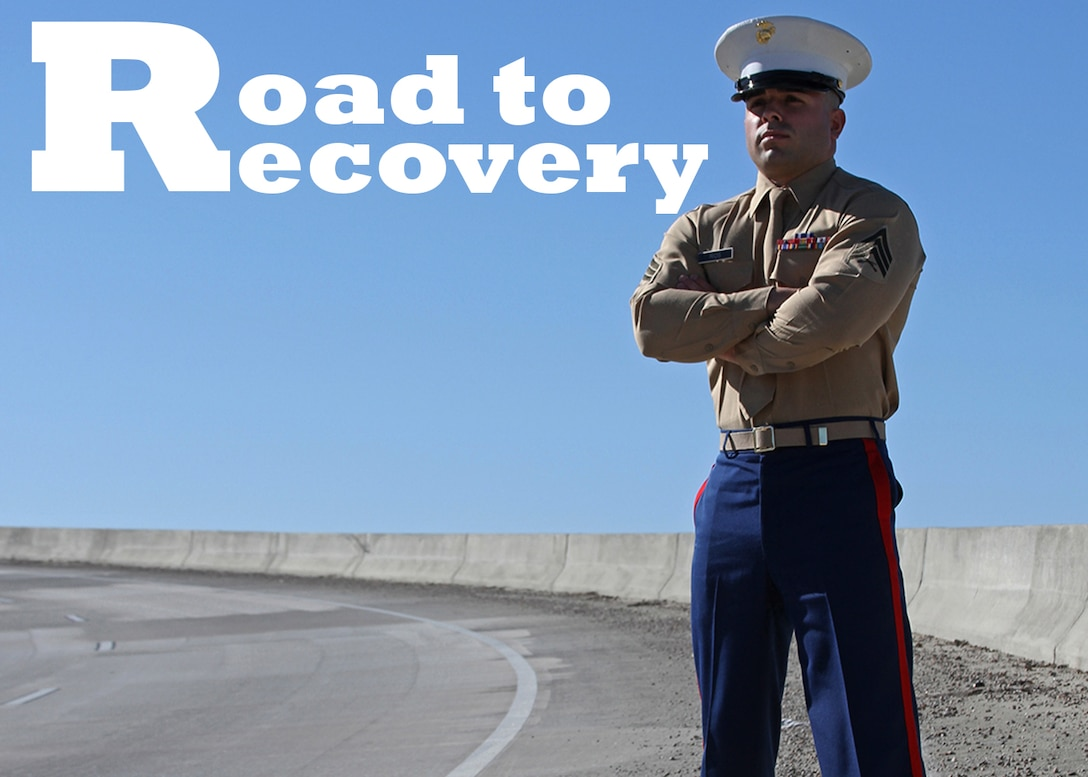 Sgt. Landon Rios, a canvassing recruiter with Recruiting Substation Augusta, Recruiting Station Columbia, stands on a bypass in the city of Augusta, Ga., on Dec. 17. Rios suffered severe injuries following a motorcycle accident at this location on June 20. (Marine Corps Photo by Sgt. Aaron Rooks)