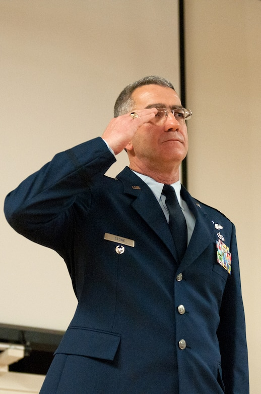 Lt. Col. Matt Stone receives his first salute as the new commander of the 123rd Mission Support Group during a change-of-command ceremony held at the Kentucky Air National Guard Base in Louisville, Ky., Jan. 11, 2014. Stone replaces Col. Jeffrey Peters, who is retiring from military service. (U.S. Air National Guard photo by Airman 1st Class Joshua Horton))
