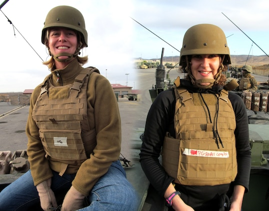 Dr. Rebecca Jaworski (left) and Mackie Jordan sit atop a Light Armored Vehicle before their late November embedment with the 1st Light Armored Reconnaissance battalion outside of Ft. Irwin, Ca.  As members of Marine Corps Systems Command's Individual Armor Team, Jaworksi, a biomedical engineer, and Jordan, an engineer, conducted surveys of the Modular Scalable Vest prototype with Marines in the field.
