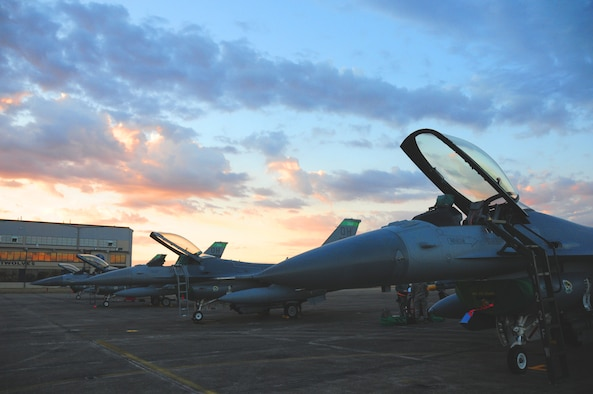 F-16s from the 180th Fighter Wing sit on the flight line during sunrise at the Joint Reserve Base New Orleans, New Orleans, La., Jan. 16, 2014. The 180th Fighter Wing is currently participating in a training exercise with F-15 Screaming Eagles from the 159th FW, New Orleans Air National Guard.  The purpose of this training is to aid pilots in maintaining familiarity with capabilities of different fighter aircraft.  The 180th's F-16s are a multi-role aircraft whereas the F-15s conduct mainly air-to-air missions. (Ohio Air National Guard photo by Staff Sgt. Amber Williams/Released)