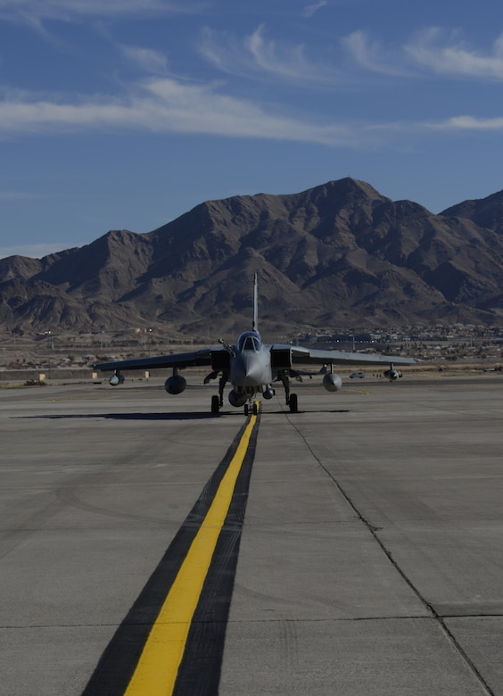 A British Royal Air Force Tornado GR4 taxis on the runway upon its arrival at Nellis Air Force Base, Nev., Jan. 22, 2013. The IX (B) Squadron recently deployed to the Gulf in 2003 to take part in Operation Telic, the United Kingdom's contribution to Operation Iraqi Freedom. (U.S. Air Force photo by Senior Airman Benjamin Sutton/Released)