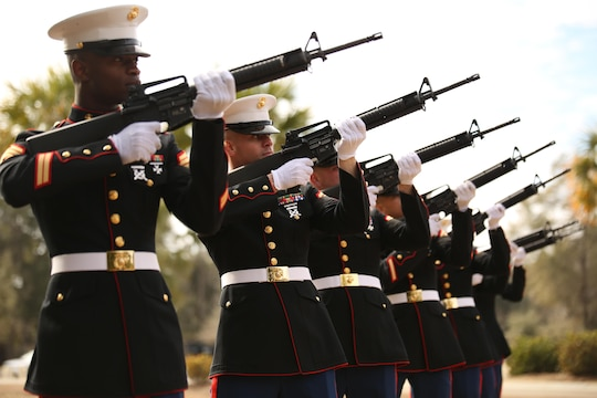 Marines from Marine Corps Recruit Depot Parris Island's rifle salute detail, perform a rifle salute at the funeral of Medal of Honor recipient John James McGinty III, on Jan. 23, 2014, at Beaufort National Cemetery in Beaufort, S.C. McGinty, a decorated Vietnam War hero and Parris Island veteran, died Jan. 17, 2014, in his home in Beaufort at the age of 73.