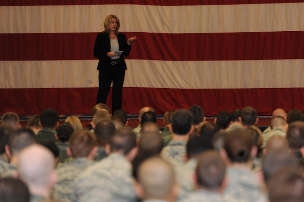 Secretary of the Air Force Deborah Lee James answers questions during an all-call Jan. 23, 2014, at Barksdale Air Force Base, La. James discussed topics including force management and morale. (U.S. Air Force photo/Airman 1st Class Jannelle Dickey)